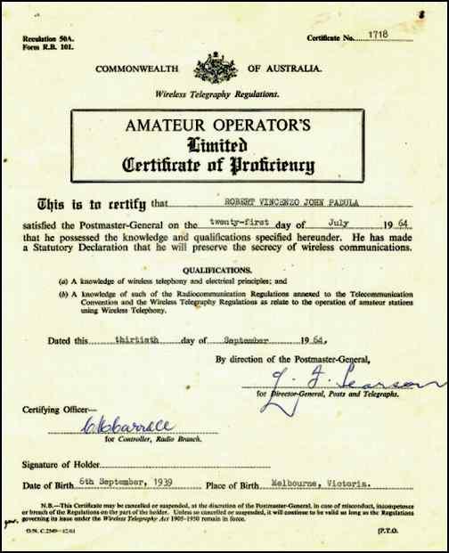 Amateur operator license